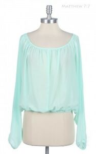Chiffon Blouse Sheer See-Through Long Dolman Sleeve Wide Neck Elastic Waist Top
