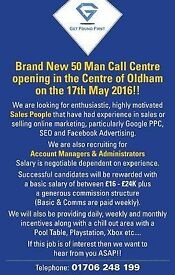 Telesales Executives Required - Oldham - Weekly Pay - Basic & Comms - Immediate Start