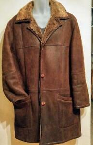 Oakville Mens $1200 MINT 40 42 M L Sheepskin Shearling Car Coat Winter Jacket / Made in Canada / Rare / Brown