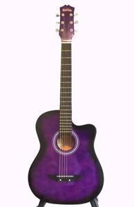 Purple Acoustic Guitar for children Free bag string set string winder 5 picks 38 inch iMusic575