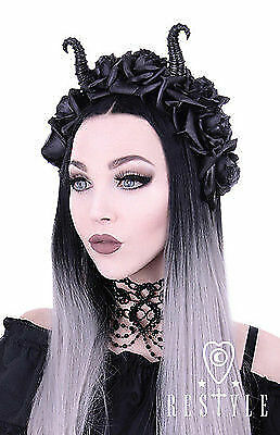 Maleficent Horns Headband (Restyle Diabolical Roses Punk Gothic Rocker Horns Maleficent Cute Girl)