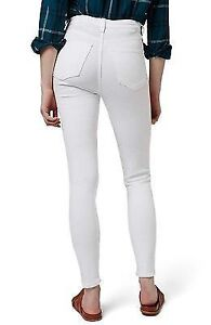 White Ripped High Rise Stretch Jeans