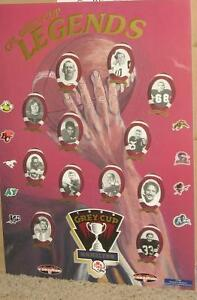 1996 Grey Cup - Hamilton - Legends Poster on Posterboard Regina Regina Area image 1