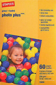 Staples PHOTO PLUS Gloss Paper Inkjet Compatible 60 sheets 4x6 72lb 10.5 mil