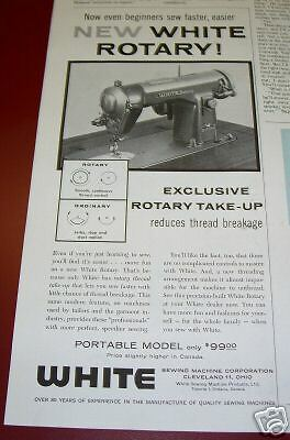 1958 Antique White Portable Sewing Machine Ad