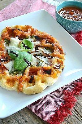 Margherita Pizza Waffles on Tatertots and Jello
