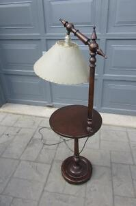 Vintage Combined Wood Floor Lamp and Table