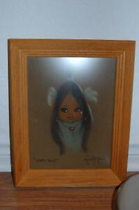 Pastel Painting of Papoose Signed Gerda Christoffersen