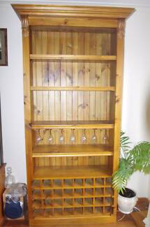 Display cupboard and wine rack timber with wine glass holder