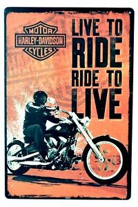 Harley Davidson- Live To Ride Tin Wall Sign. 8 x 12 Inches