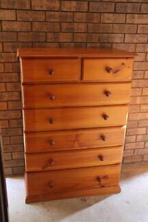 VGC large solid timber 7 drawers tallboy can deliver
