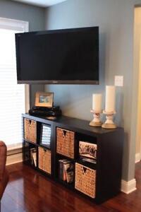 Installation télé au mur avec SUPPORT TV ARTICULÉ INCLUS