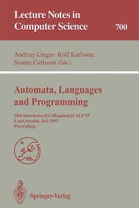 Automata, Languages and Programming: 20th International Colloquium, ICALP 93, Lu