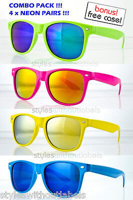Neon Wayfarer Sunglasses (80s Retro NEON FRAME COLORS Hipster Style Sunglasses Mirror Lens Super LOT OF 4)