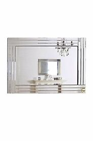 Large Silver Bevelled Modern All Glass Wall Mirror