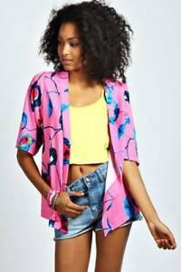 New with Tag Bright Pink Abstract Blue Floral Crepe Kimono Boohoo Strathmore Moonee Valley Preview