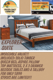 ***BRAND NEW*** Solid Timber EXPLORER Queen Bedroom Suite