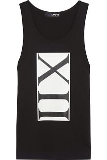 DKNY x Cara Delevingne XII MUSCLE Black cotton tank BNWT Petite