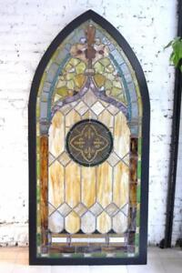 Vitrail antique victorien, d'église Épiscopale 1880 restauré à neuf