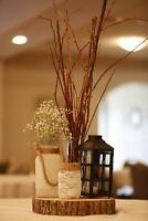 Mason Jars Wrapped In Lace & Burlap