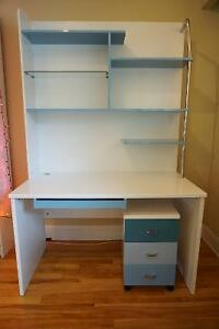 Perfect desk for students with shelves and drawers