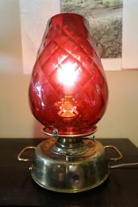REDUCED! RARE 1884 Lampe Belge with HUGE Ruby Diamond Glass