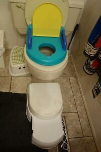 potty with stepping stool and toilet seat cover