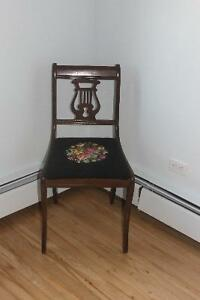 Antique Lyre Back Chair with Needlepoint Seat