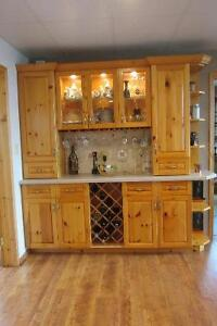 Pine Kitchen China Cabinet