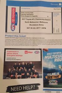 Footy ticket, North Melbourne v Melbourne. Saturday match Sandy Bay Hobart City Preview