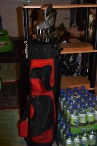 Golf Club Set & Red Golf Bag