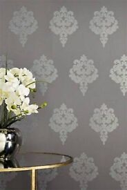 Next glitter damask wallpaper