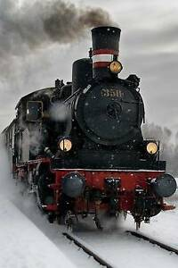 Old Steam Locomotive in the Snow Journal: 150 Page Lined Notebook by Image, Cool