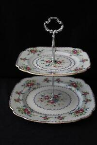 PETIT POINT TWO TIER CAKE STAND