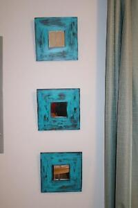 Turquoise distressed mirrors (3)