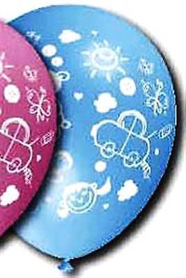 15 bedruckte Luftballons BABY Geburt Dekoration blau Pinkel Party Überraschung