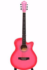 Acoustic Guitar Pink for beginners 40 inch full size iMusic32