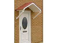 Door Canopy Rain Shelter - White frame Apex with choice of 3 roof tile colours