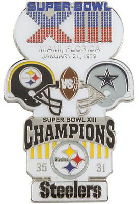 Super Bowl 13 Xiii  Pittsburgh Steelers Dallas Cowboys Final Score Pin Large Psg