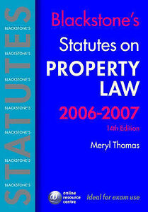 Blackstone's Statutes on Property Law 2006-2007 (Blackstone's Statute Series), M