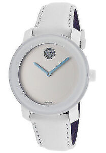 Movado Bold Light Blue Accent White Leather Ladies Watch
