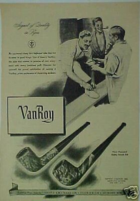 1944 VanRoy Dumont Pipe/pipes Tobacciana/Tobacco Art Ad