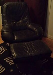 Dark Navy Blue Real Leather Swivel Chair