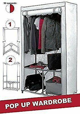 Extra Strong Metal Frame Canvas Wardrobe with Shelf and Shoe Storage In Cream Colour