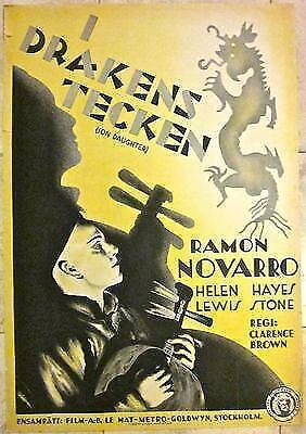 CUT $55!! SON DAUGHTER 1932 SWEDISH POSTER - RARE RAMON NOVARRO CHINESE ART!!