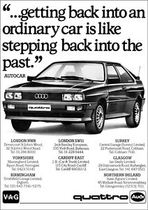 AUDI QUATTRO RETRO A3 POSTER FROM CLASSIC 80'S ADVERT