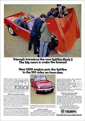 TRIUMPH SPITFIRE RETRO A3 POSTER PRINT FROM 60'S ADVERT