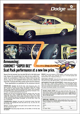 DODGE 68 CORONET SUPER BEE MOPAR MUSCLE RETRO A3 POSTER PRINT FROM ADVERT 1968