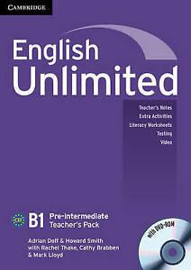 Cambridge ENGLISH UNLIMITED PRE-INTERMEDIATE Teacher's Pack/Book w DVD-ROM @NEW
