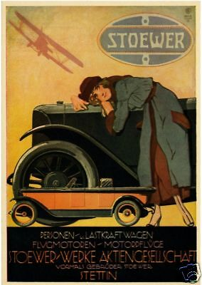 Farb-Plakat: STOEWER  Automobile  1922, Oldtimer